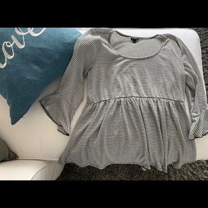 Cute Torrid B&W Striped Babydoll Top w/Bell Sleeve